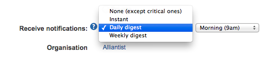 Email Digest Notification settings