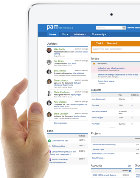 pam solutions are architected using many of the pam platform features and are underpinned with pam's collaboration capability